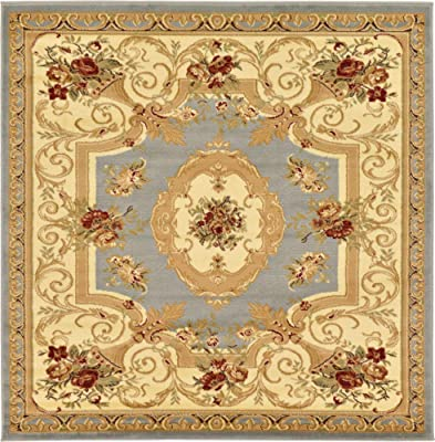 Unique Loom Versailles Collection Traditional Classic Light Blue Square Rug (6' 0 x 6' 0)