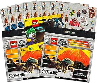 Lego Jurassic World & Batman Stickers Party Supplies Set ~ 18 Lego Batman & Lego Jurassic Park Party Favors Sheets (350+ Stickers)