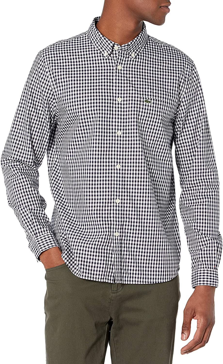 Lacoste Men's Long Sleeve Online limited product Gingham Fit High quality new Regular Poplin Shirt