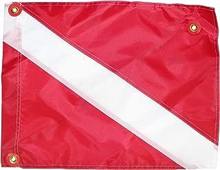 International Dive Flags - Nylon Diver Down Flag w Stiffener - Nylon Alpha Flag - Scuba Diver Flag - Boat Flag Marker for Snorkeling, Diving, & Underwater Activities (Blue & White) (Red & White)