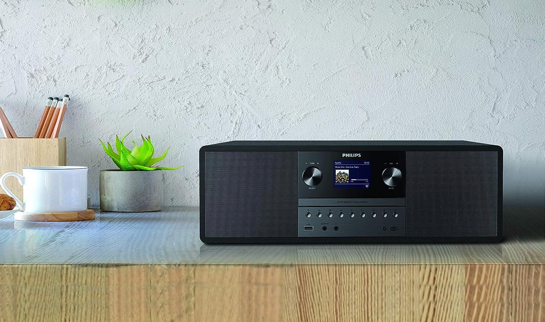 Philips M4205//12 Minicadena de M/úsica con CD y USB y Bluetooth Modelo 2020//2021 Radio FM, MP3-CD, Entrada de Audio, Puerto USB para Carga, 60 W, Altavoces Bass Reflex, Control Digital del Sonido