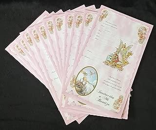 12 invitaciones rositas para bautizo, nina