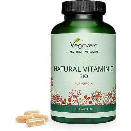 BIO Vitamina C Natural Vegavero® | 180 mg | 180 Cápsulas | Sin Aditivos Artificiales | De Extracto de Acerola Orgánica de Brasil | Sistema Inmunitario | Testado en Laboratorio | Apto para Veganos
