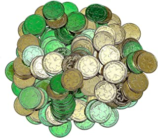 DIYASY 144 Pcs Shamrock Good Luck Coins,Plastic 3-Leaf Clover Coins Green and Gold Pocket Token Charm Coin for St. Patrick...