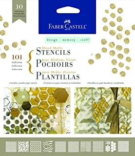 Faber-Castell Mixed Media Paper Stencils - 101 Collection - 10 Reusable Graphic Stencils