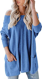 Yskkt Womens Off The Shoulder Sweaters Plus Size Batwing...