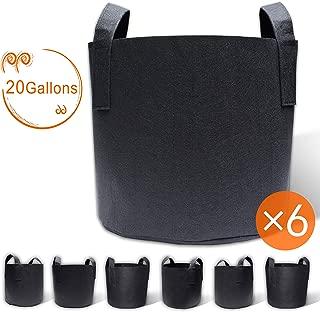 Gardzen 6-Pack 20 Gallon Grow Bags, Aeration Fabric Pots with Handles