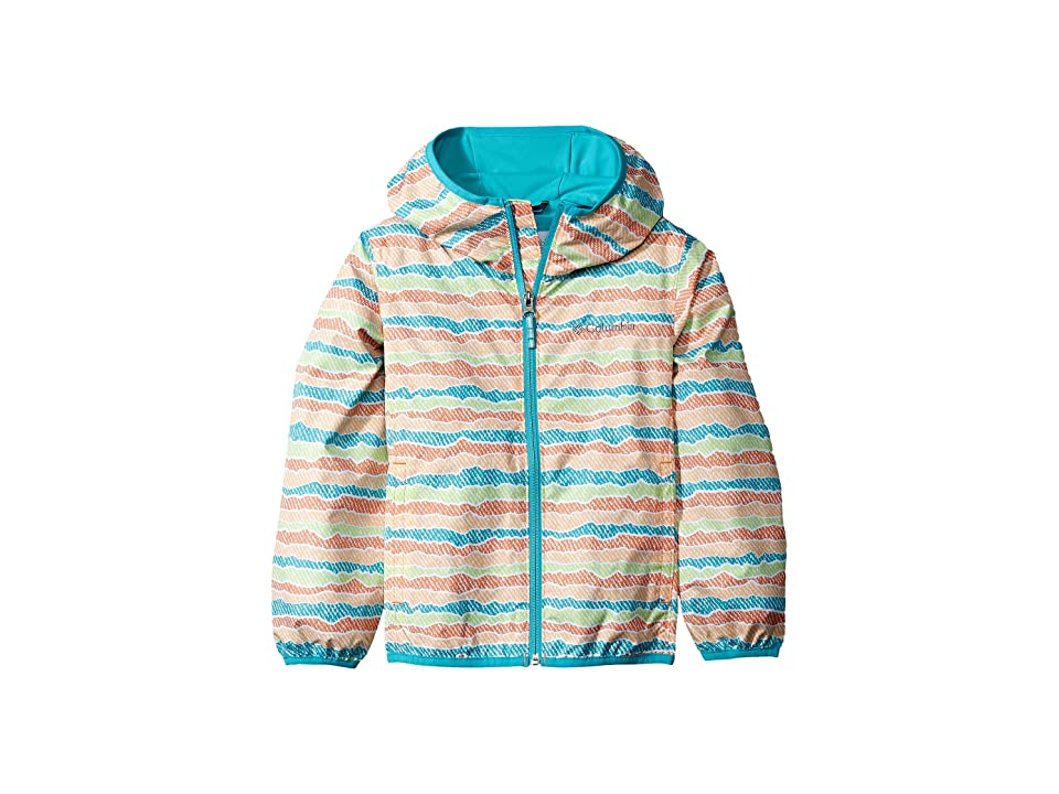 Columbia Kids Pixel Grabbertm II Wind Jacket (Little Kids/Big Kids) (Peach Stripe/Geyser) Girl