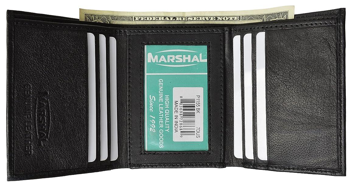 オプショナルテント見てレザーメンズ三つ折り財布(6?) クレジットカードスロットとセンター内部ウィンドウIDブラックby Marshal