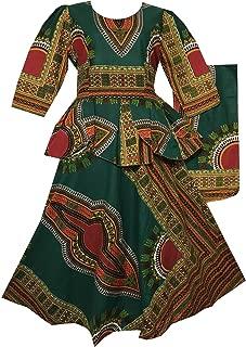Decoraapparel African Girls Wax Dashiki Wrap Skirt Suit Women Maxi Outfit Suit M, L, XL