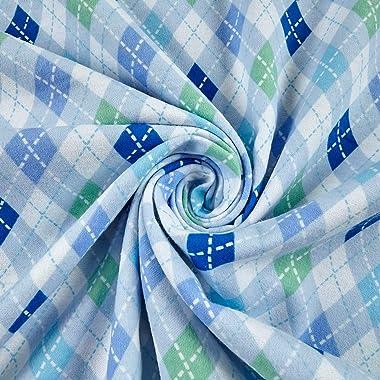 Mook Fabrics Elephant/Mouse Flannel Argyle Fabric, Blue, Fabric By The Yard