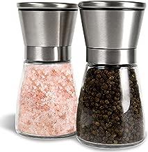 Salt and Pepper Shakers, Salt Mills, Salt and Pepper Grinder Set - - Spice Grinder with AdjustableCoarseness - Easy to Fill Salt and Pepper Mill set (Set Of 2)