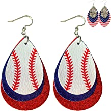 Baseball Earrings for Women - SET OF TWO - 3-Layered Faux Leather Dangle Statement Earrings - Baseball and USA Strips and ...