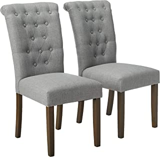 Merax Upholstered Fabric Dining Chairs Tufted Cushion Seat with Solid Wood Legs for Living Room Chairs Set of 2 (Gray)