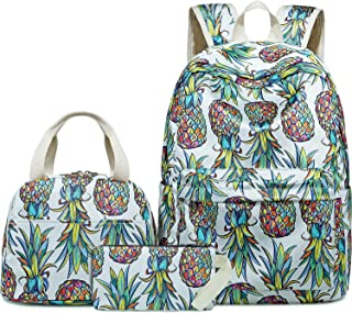 BLUBOON Teen Girls Backpack School Book Bag Set with Lunch Box and Pencil Case for Kids and Children (Glittering Pineapple...