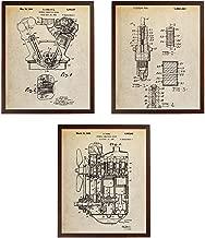 Turnip Designs Internal Combustion Engine Spark Plug Poster Car Part Art Engine Automotive Fans Henry Ford Vintage TDP244