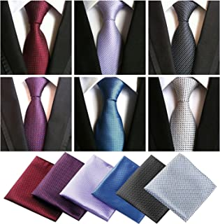 6 Pcs Ties for Men Men' s Tie and Pocket Square and Pocket Square holder set