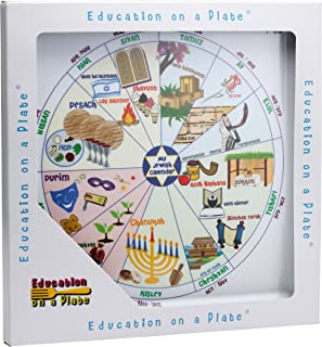 Jewish Educational Mealtime Plate for Kids; Fun, Colorful and Sturdy Melamine Plate with Calendar of All Jewish Holidays in English and Hebrew for Children of All Ages