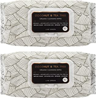 Live Green - 2 Pack (60 Count Each) Coconut and Tea Tree Oil Cleansing Wipes