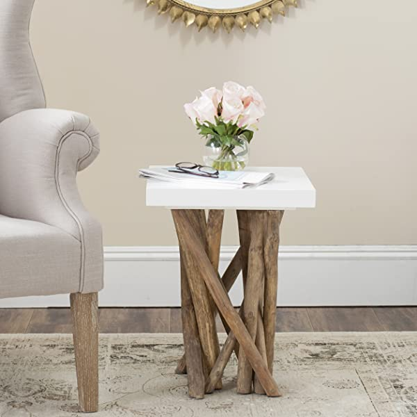 Safavieh Home Collection Hartwick White And Natural Side Table