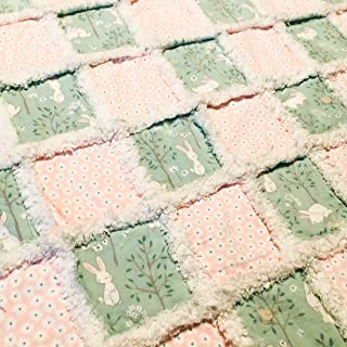 Pink and green sweet bunnies and flowers baby girl rag quilt