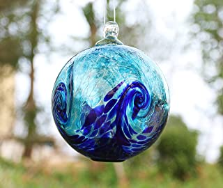 Artisan Crafts and Design 6-Inch Solar Hanging Glass Gazing Ball Outdoor Garden Décor Aqua-Blue Swirl