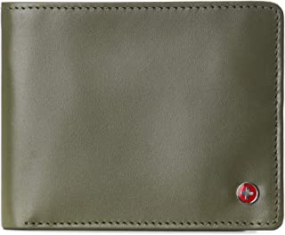 Alpine Swiss Men's Leather RFID Bifold Wallet 2 Id Windows Divided Bill Section York Collection