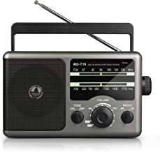 Portable AM FM Radio Transistor Radio with 3.5mm Earphone Jack, Hight/Low Tone Mode, Big Speaker, Battery Operated by 4 D Cell Batteries or AC Power