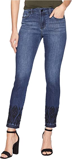 Abby Ankle Embroidered in Super Comfort Stretch Denim Jeans in Montauk Mid Blue