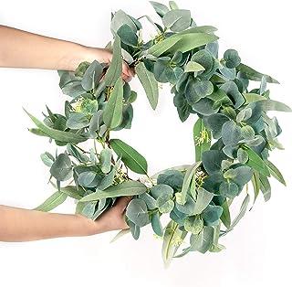 "LE OCTANE Eucalyptus Garland- 50"" 4.2 ft Handmade Artificial Plants Greenery Garland - Wedding Arch Decor Fake Plants- Silver Dollar Eucalyptus Artificial"