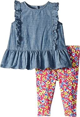 Chambray Top & Floral Leggings (Infant)
