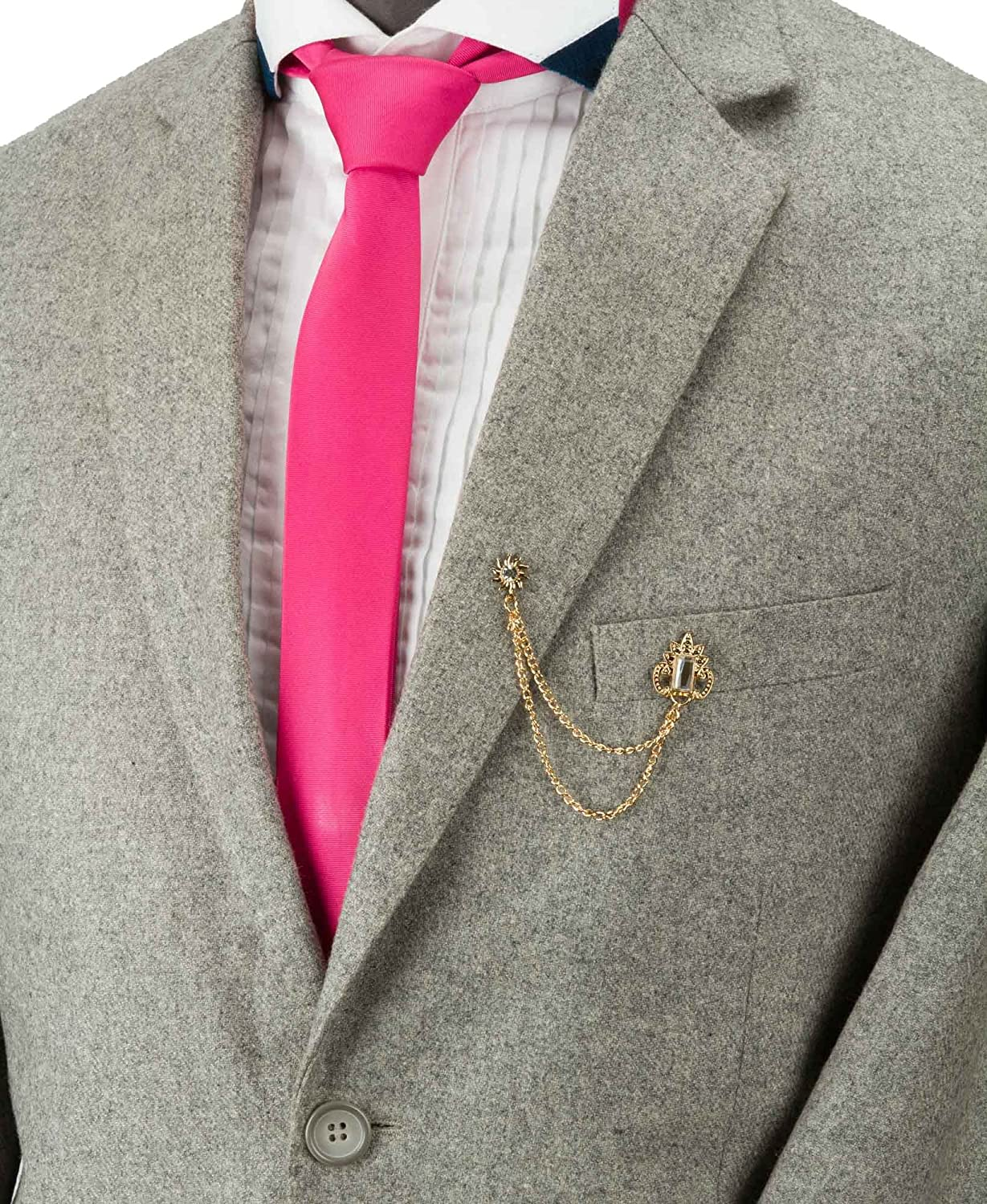 Knighthood Crowned Stone with Hanging Chain Lapel Pin Badge Coat Suit Wedding Gift Party Shirt Collar Accessories Brooch for Men