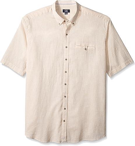 Cutter & Buck Hommes's Big and Tall manche courte Cove Stripe Shirt, Khaki, 2X Big