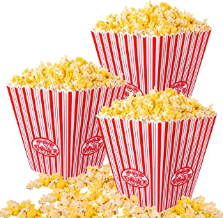 Mr. Kitchen's Plastic Reusable Popcorn Boxes, (Set of 6) Each Popcorn Bucket, Popcorn Tub Holds 152 Oz