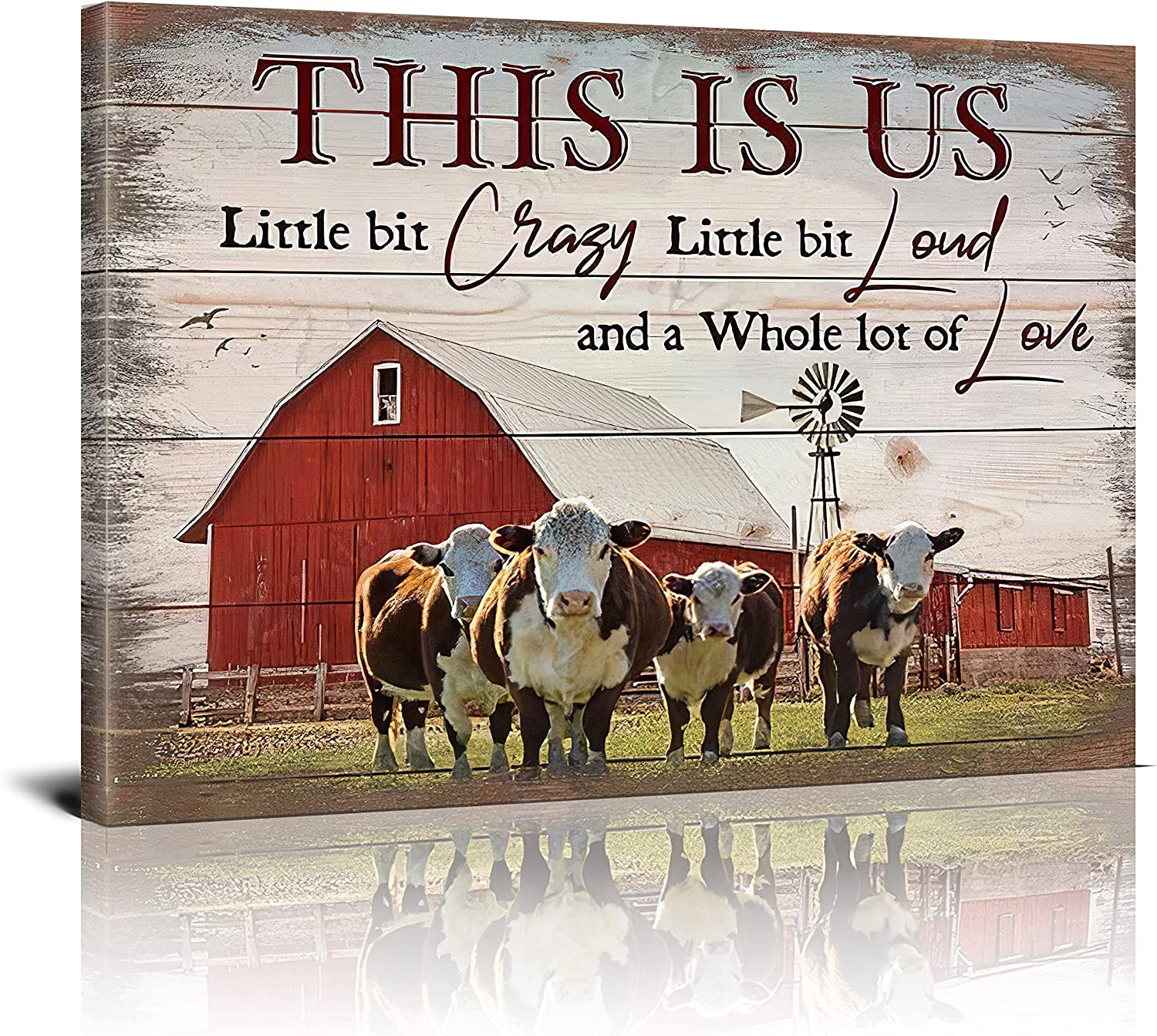 DRAWPRO Rustic Farm Cow Wall Art This Is Us Cow Barn Country Canvas Print Paintings Framed Pictures Modern Home Decor For Living Room Kitchen Bathroom Ready To Hang,16x20 Inch