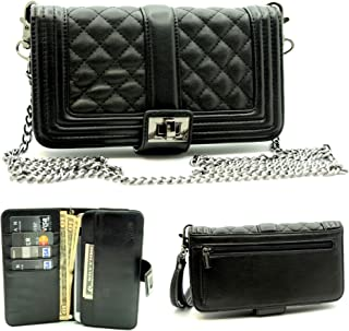 ZZYBIA Wristlet Clutch 2 way Coin Zip Mobile Case, Card Holder with Detachable Long Chain