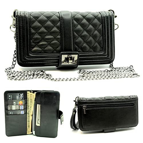 ad2223bdd5d5 ZZYBIA Wristlet Clutch 2 way Coin Zip Mobile Case, Card Holder with  Detachable Long Chain