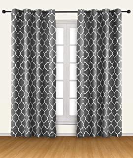 Utopia Bedding Blackout Room Darkening Curtains Window Panel Drapes - 2 Panels - 52 Inches Wide by 84 Inches Long - 8 Grommets/Rings per Panel - Tie Back Included - Grey/White