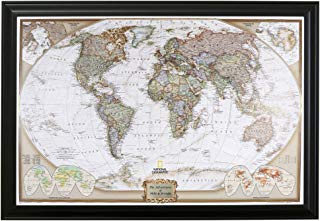 Push Pin Travel Maps Personalized Executive World with Black Frame and Pins - 27.5 inches x 39.5 inches