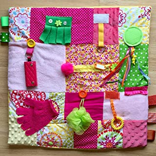 Fidget Blanket, Fidget Quilt, Alzheimer's Blanket, BURST OF COLOR by Restless Remedy