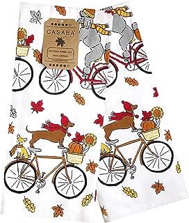 Casaba Fall Kitchen Towel Set, Dogs on Bikes