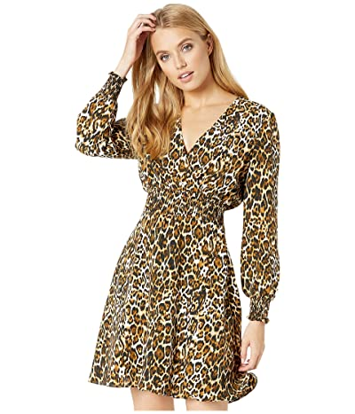WAYF Sora Smocked Waist Mini Dress (Leopard) Women