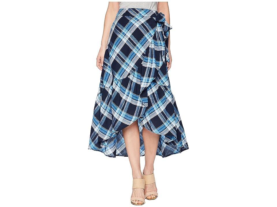 LAUREN Ralph Lauren Plaid Ruffled Skirt (Blue Multi) Women