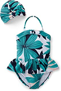 Girls Palm Print Set with One-Piece Swimsuit and Swim Cap