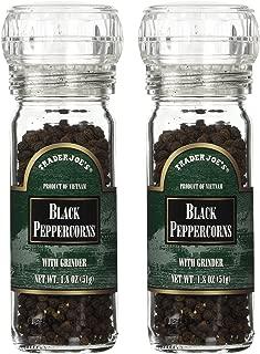 Trader Joe's Black Pepper Peppercorns with Grinder -- 2-PACK, 1.8oz