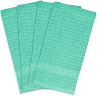 """DII Cotton Waffle Terry Dish Towels, 15 x 26"""" Set of 4, Ultra Absorbent, Heavy Duty, Drying & Cleaning Kitchen Towels-Aqua"""