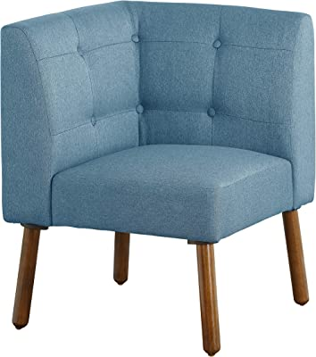 "The Mezzanine Shoppe Playmate Mid Century Fabric Upholstered Tufted Back Corner Chair, 24"", Blue"