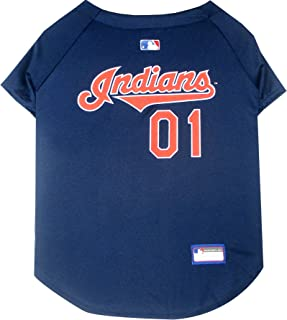 Pets First MLB CLEVELAND INDIANS Dog Jersey, Large. - Pro Team Color Baseball Outfit