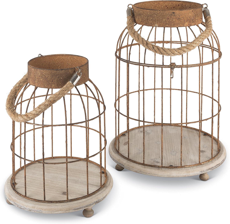 Lone Elm Metal Open Top Bird Cage (Set of 2), 11.8  x 11.8  x 15.75