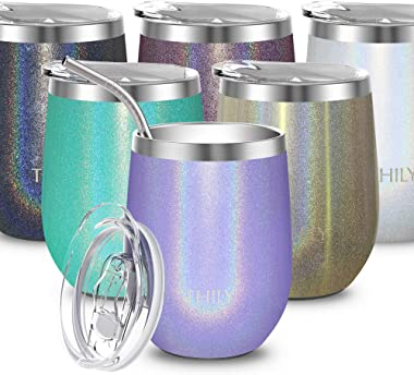 Stainless Steel Wine Tumbler Insulated - THILY T2 Stemless Travel Wine Glass Coffee Cup with Sliding Lid and Reusable Straw,